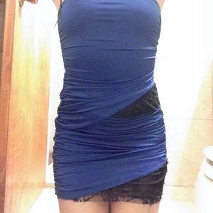 Metropark navy blue/black lace strapless minidress
